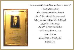 Plaque and Invitation to the McCain luncheon